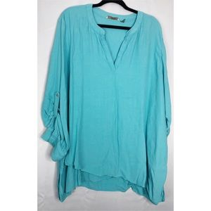 Soft surroundings 3x turquoise roll sleeve shirt